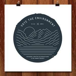 "Vote the Environment by Emily Kelley 12"" by 12"" Print / Unframed Print Vote the Environment"