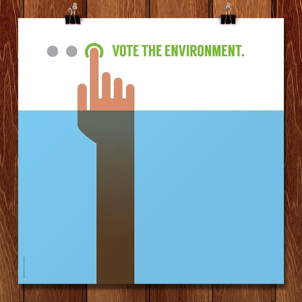 "Vote the Environment by Luis Prado 12"" by 12"" Print / Unframed Print Vote the Environment"