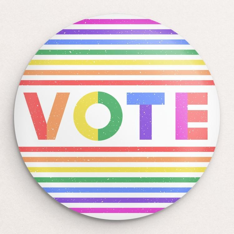 Vote With Pride Button by Susanne Lamb Single Buttons Vote!