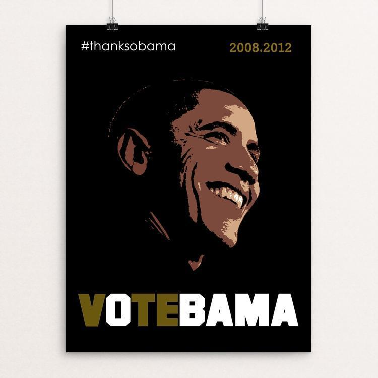 "VOTEBAMA by BOB RUBIN 12"" by 16"" Print / Unframed Print Design For Obama"