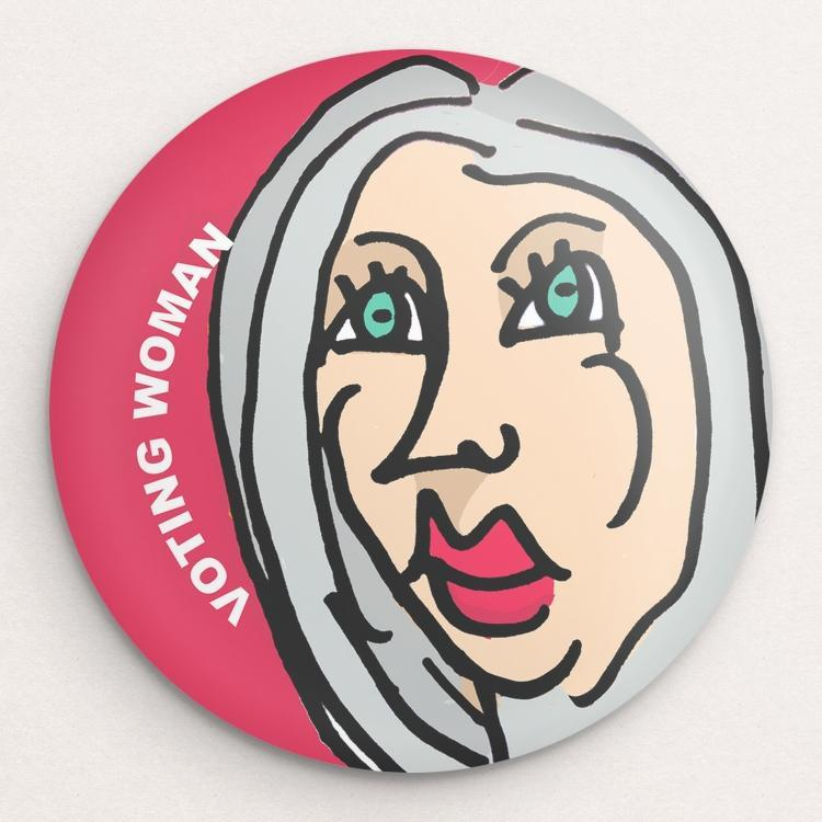 Voting Woman Button 11 by Dennis Goris