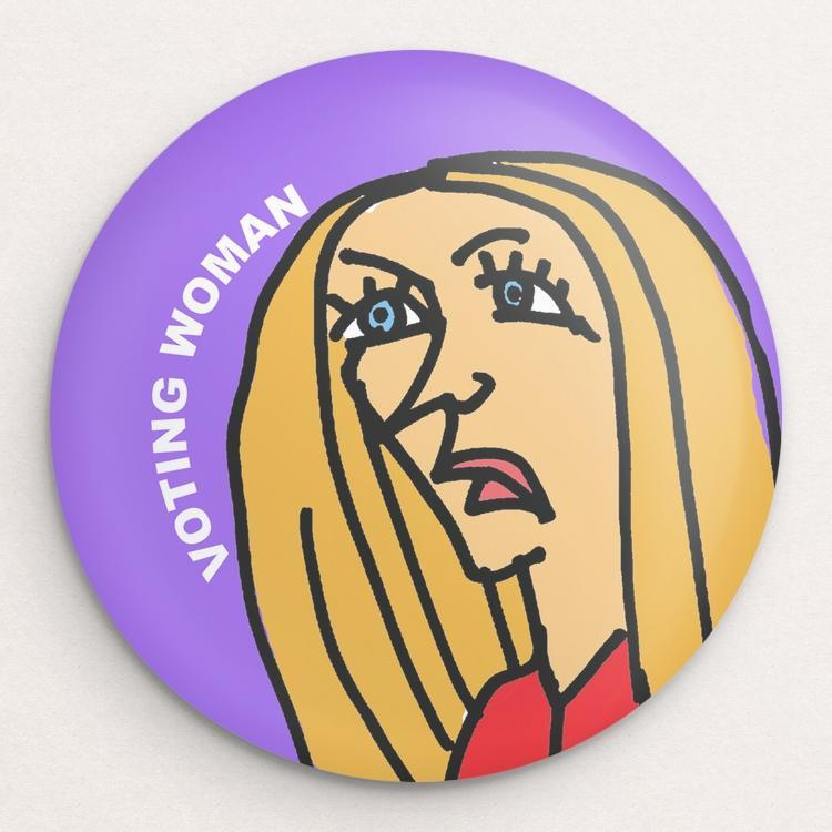 Voting Woman Button 12 by Dennis Goris