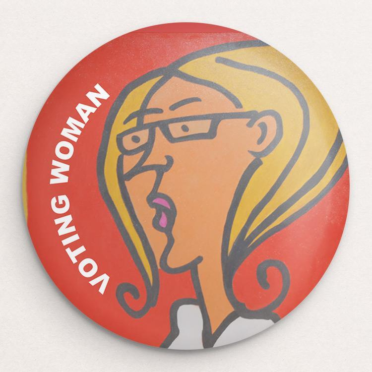 Voting Woman Button 2 by Dennis Goris