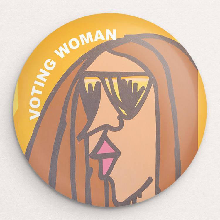 Voting Woman Button 3 by Dennis Goris