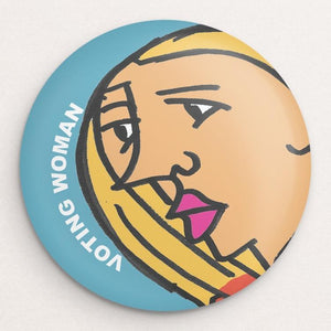 Voting Woman Button 5 by Dennis Goris