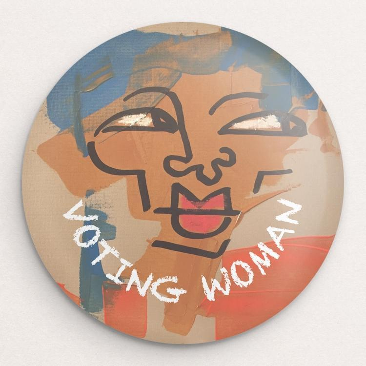 Voting Woman Button 6 by Dennis Goris
