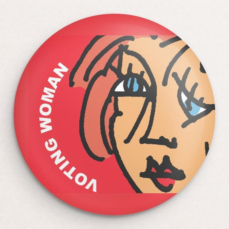 Voting Woman Button 7 by Dennis Goris