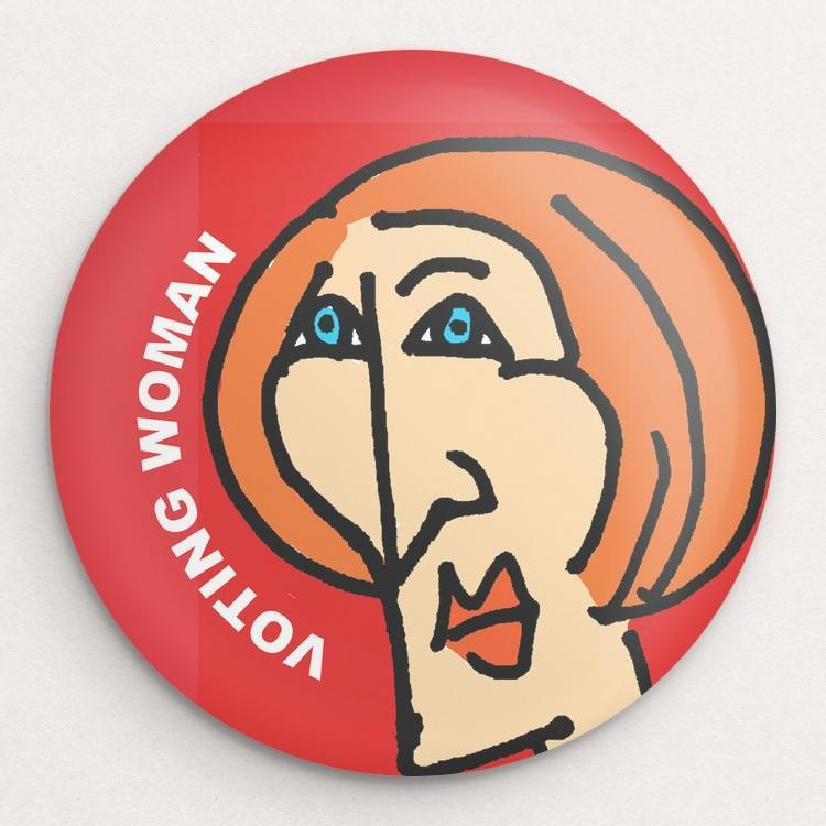 Voting Woman Button 8 by Dennis Goris Single Buttons Vote!