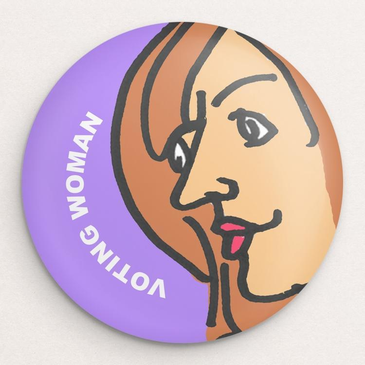 Voting Woman Button 9 by Dennis Goris