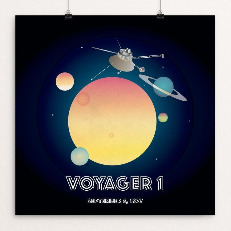 "Voyager 1 by Marcos Carvalho 12"" by 12"" Print / Unframed Print Space Horizons"