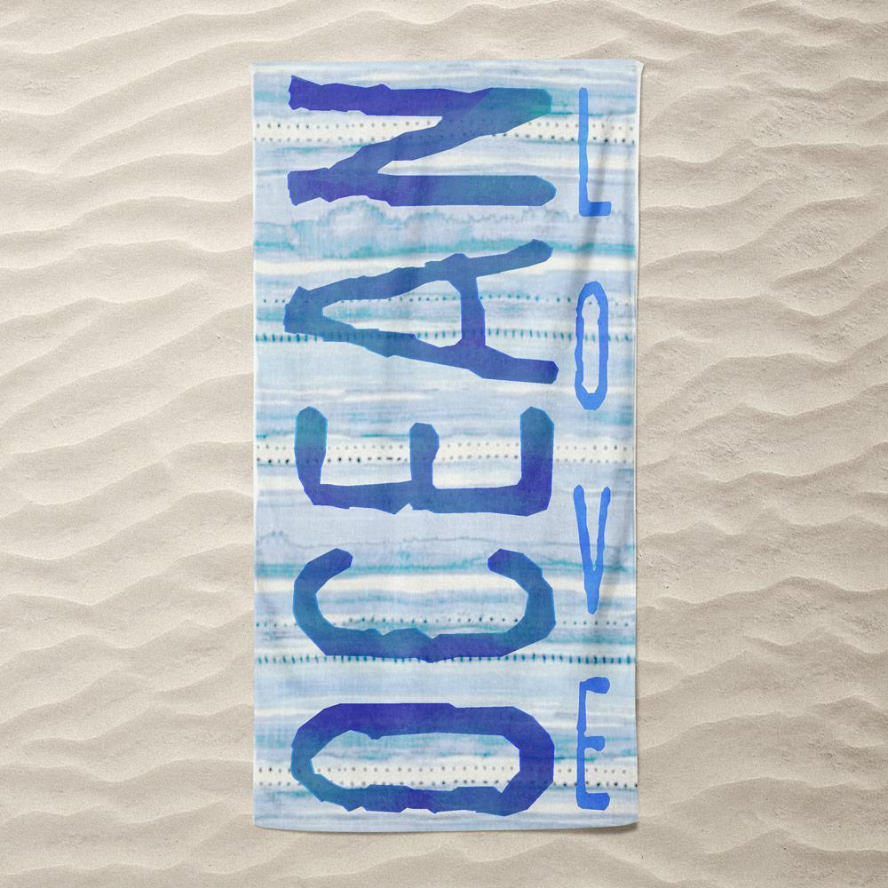 Watercolor Ocean Love Beach Towel by Vivian Chang Beach Towel Ocean Love