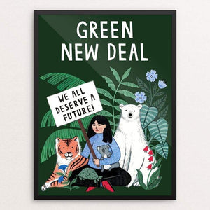 "We all deserve a future by Holly Maguire 18"" by 24"" Print / Framed Print Green New Deal"