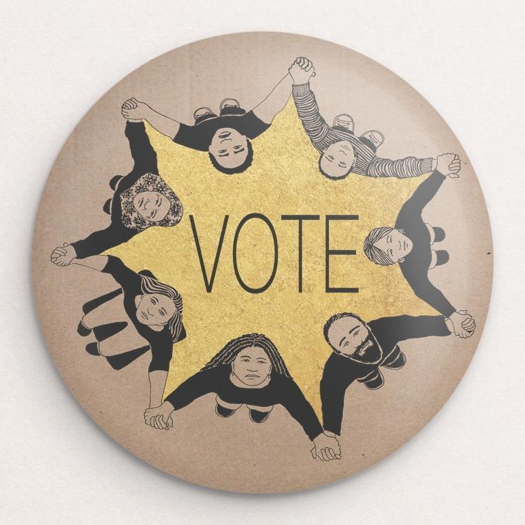 We Vote Button by Jennifer Bloomer Single Buttons Vote!