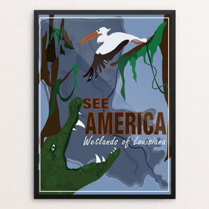 "Wetlands of Louisiana by Laura Montgomery 12"" by 16"" Print / Framed Print See America"