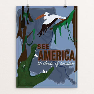 "Wetlands of Louisiana by Laura Montgomery 12"" by 16"" Print / Unframed Print See America"