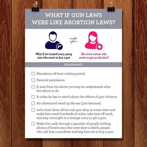 "What if Gun Laws Were Like Abortion Laws? by Aaron Perry-Zucker 18"" by 24"" Print / Unframed Print The Gun Show"