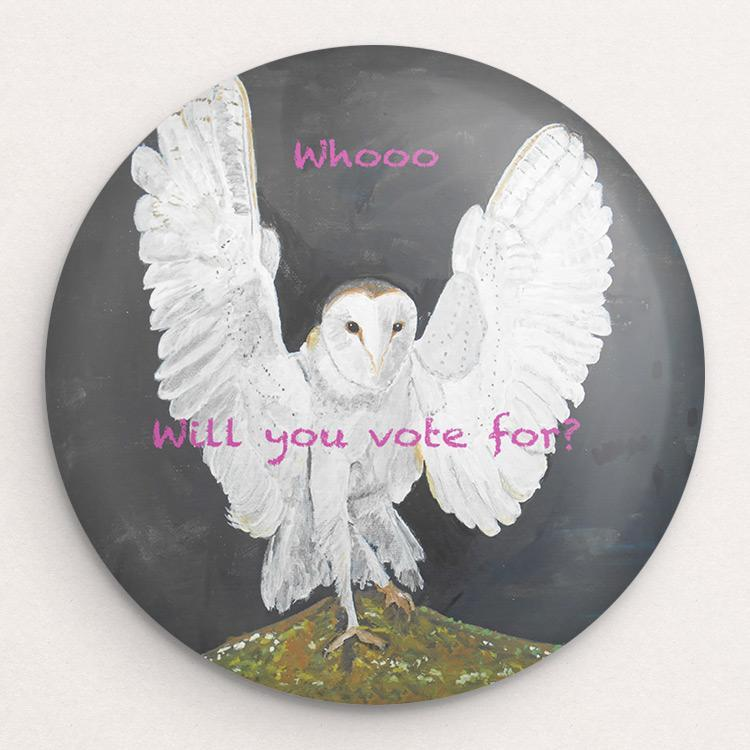 Who will you vote for? Button by Christine Lathrop