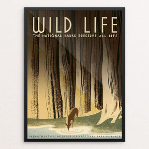 "Wild Life - The National Parks Preserve All Life. by Frank S. Nicholson 12"" by 16"" Print / Framed Print WPA Federal Art Project"