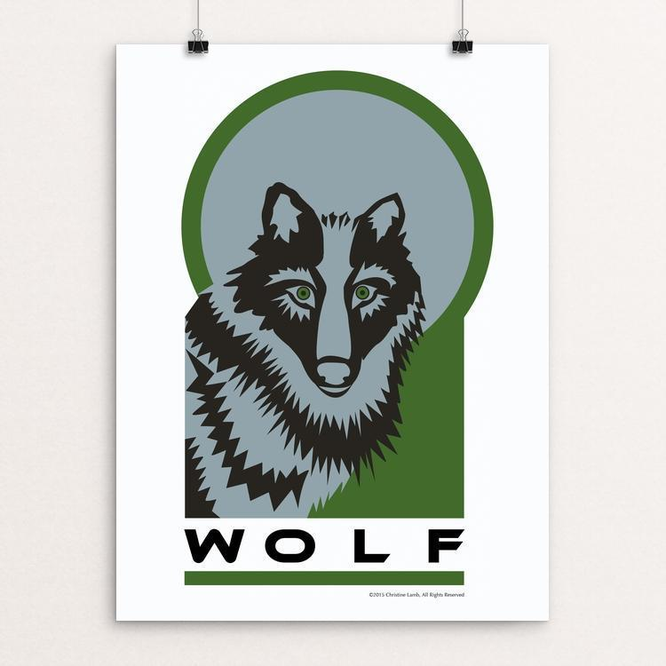 "Wolf Moon by Christine Lamb 18"" by 24"" Print / Unframed Print Join the Pack"