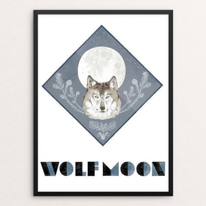 "Wolf Moon by Jen Kruch 12"" by 16"" Print / Framed Print Join the Pack"