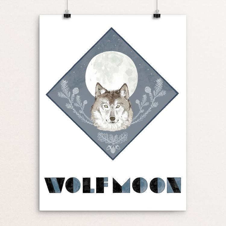 "Wolf Moon by Jen Kruch 12"" by 16"" Print / Unframed Print Join the Pack"