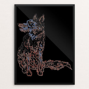 "Wolf Sitting Pretty by Marcos Carvalho 12"" by 16"" Print / Framed Print Join the Pack"
