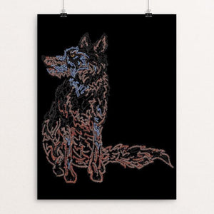 "Wolf Sitting Pretty by Marcos Carvalho 12"" by 16"" Print / Unframed Print Join the Pack"