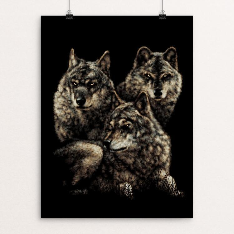 "Wolves by Peter Bowen 12"" by 16"" Print / Unframed Print Join the Pack"