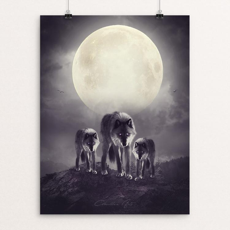 "Wolves of the moon by Charlliee Dawnson 12"" by 16"" Print / Unframed Print Join the Pack"