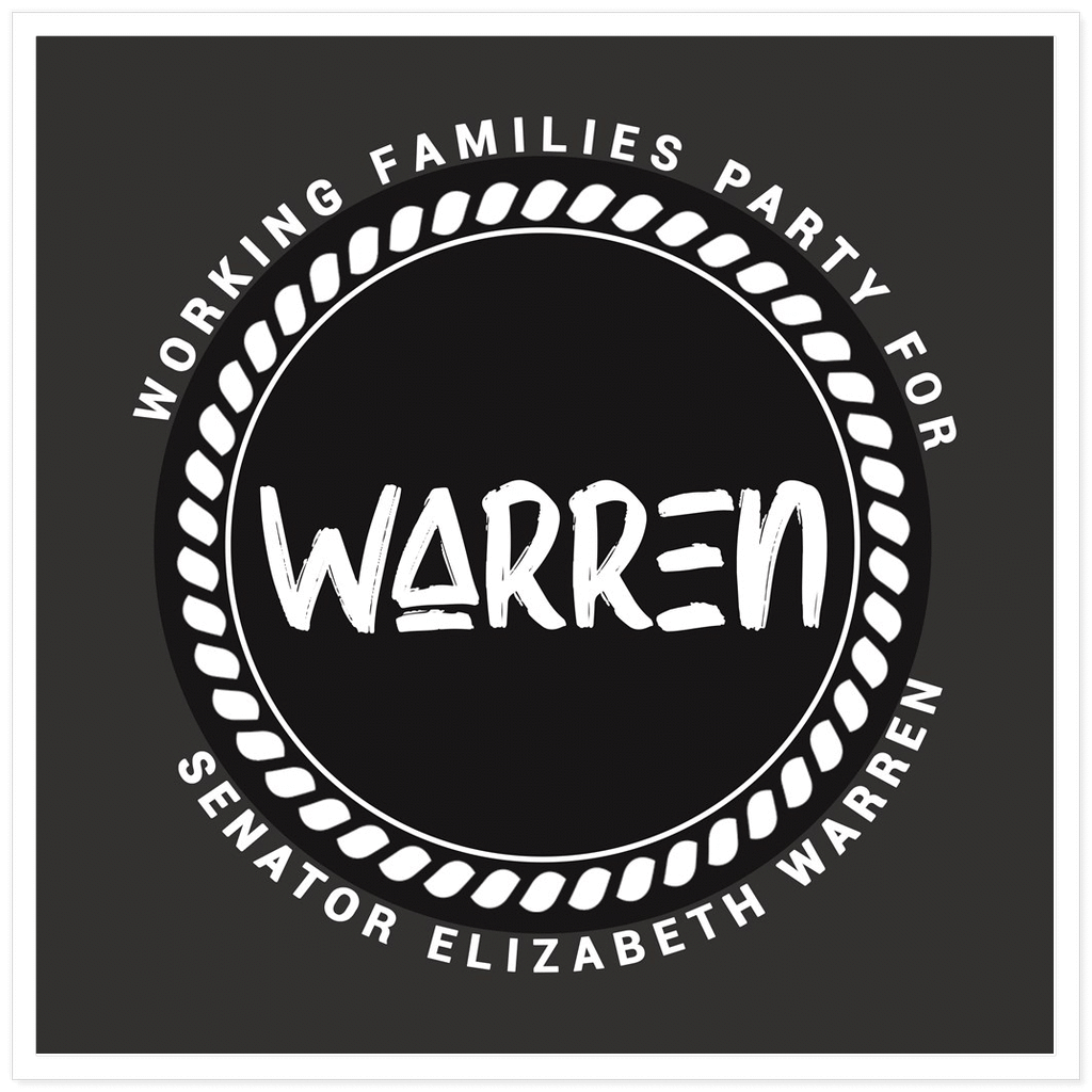 Working Families Party for Warren 2 Sticker by Kevin 'afroCHuBBZ' Banatte 5.5x5.5 inch / 1 Pack Stickers Working Families P(ART)Y