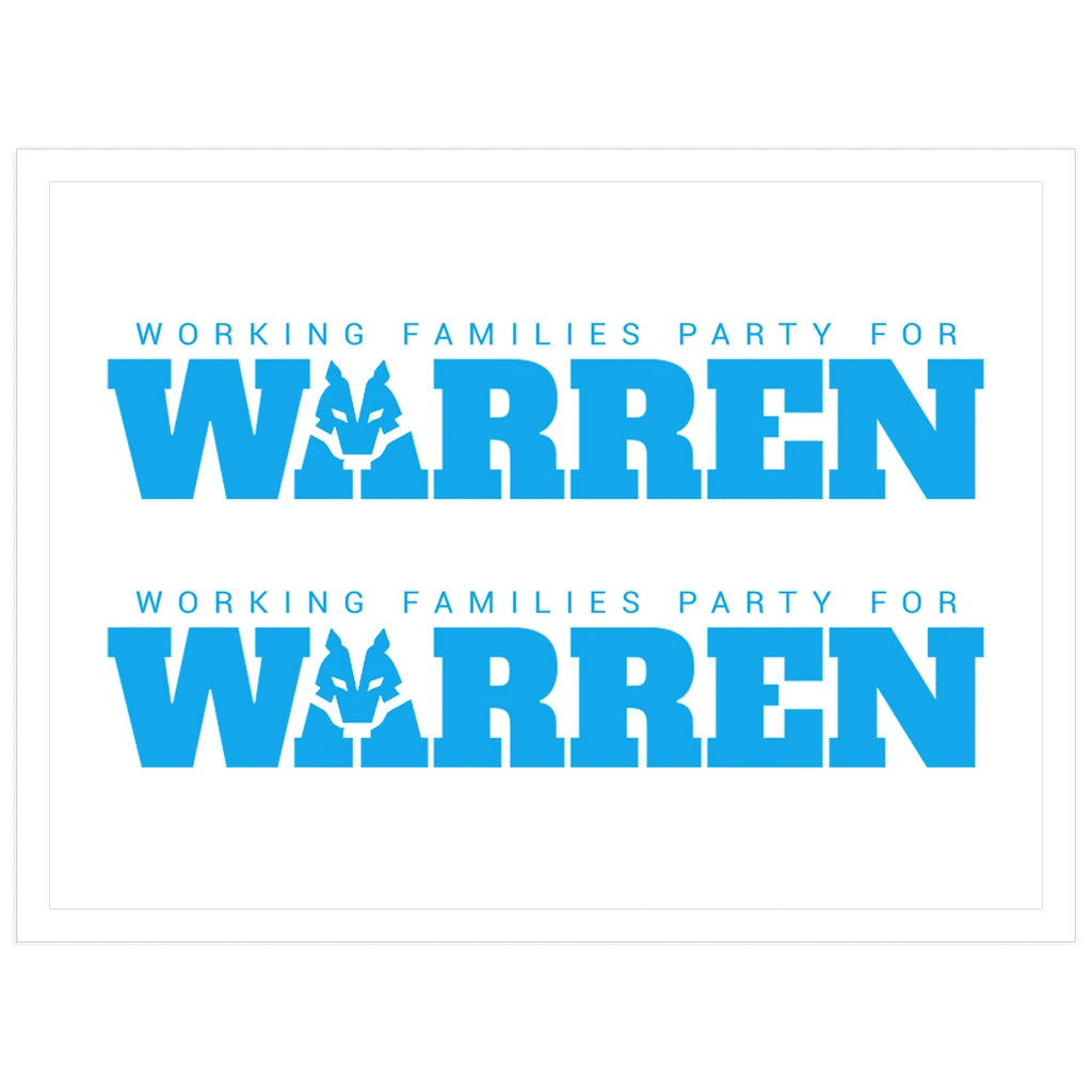 Working Families Party for Warren Sticker by Kevin 'afroCHuBBZ' Banatte 3x4 inch / 1 Pack Stickers Working Families P(ART)Y