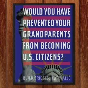 "Would You Prevent Your Grandparents? by Chris Lozos 12"" by 16"" Print / Framed Print Migration Nation"