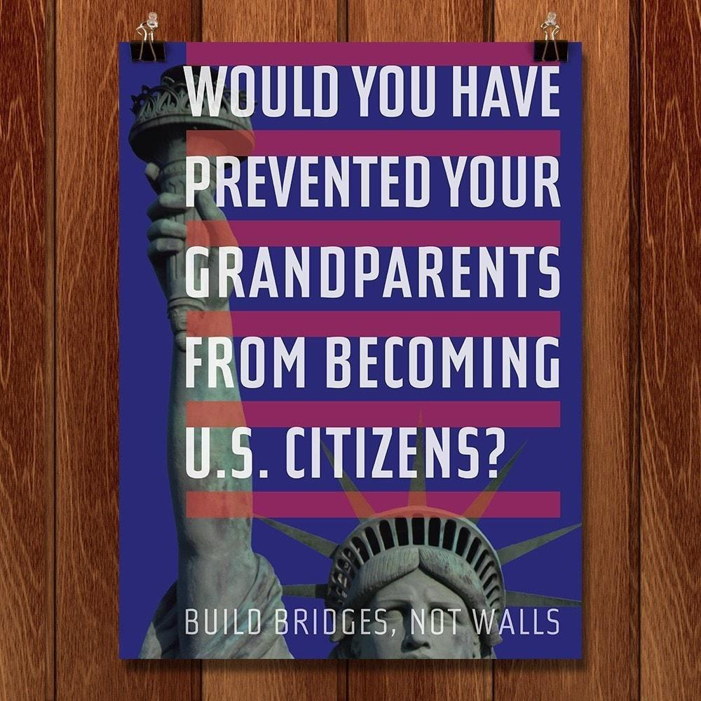 "Would You Prevent Your Grandparents? by Chris Lozos 12"" by 16"" Print / Unframed Print Migration Nation"