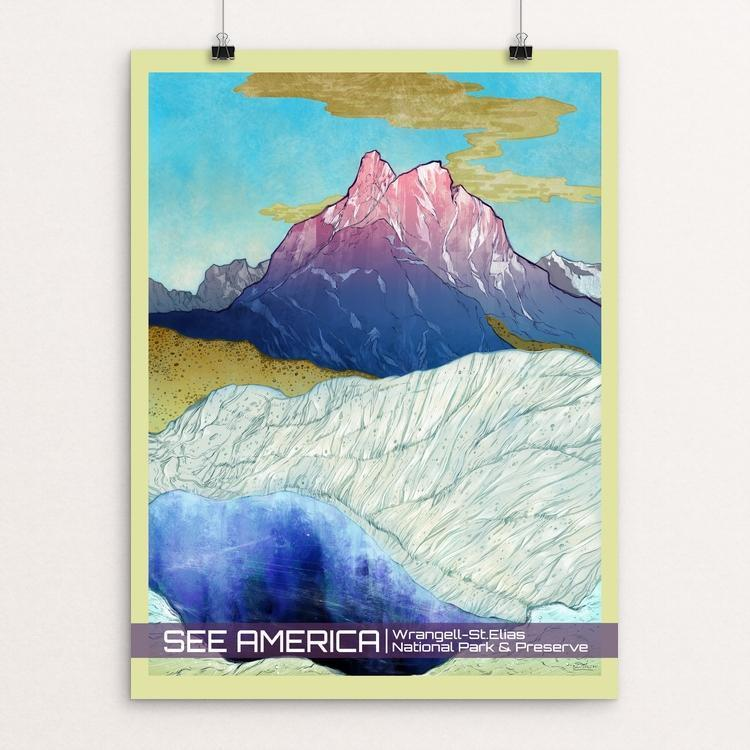 "Wrangell - St. Elias National Park and Preserve by Daria Theodora 12"" by 16"" Print / Unframed Print See America"