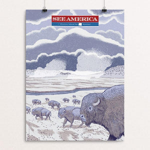 "Yellowstone National Park by Brixton Doyle 12"" by 16"" Print / Unframed Print See America"