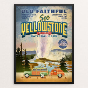 "Yellowstone National Park by Chris England 18"" by 24"" Print / Framed Print See America"