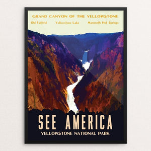 "Yellowstone National Park by Isaac Loveland 12"" by 16"" Print / Framed Print See America"