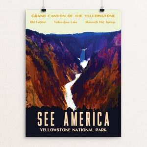 "Yellowstone National Park by Isaac Loveland 12"" by 16"" Print / Unframed Print See America"