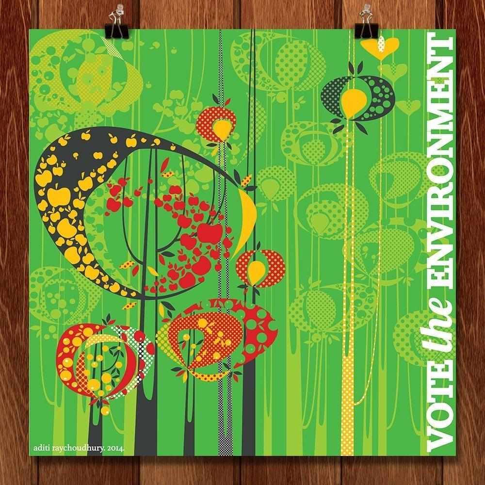 "Yes on Trees by Aditi Raychoudhury 12"" by 12"" Print / Unframed Print Vote the Environment"