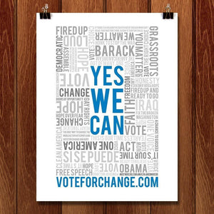 "Yes We Can - Vote For Change by Kevin J. Furst 12"" by 16"" Print / Unframed Print Design for Obama"