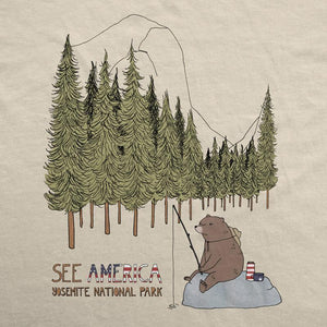 Yosemite National Park Men's T-Shirt by Naomi Sloman S / Cream T-Shirt See America