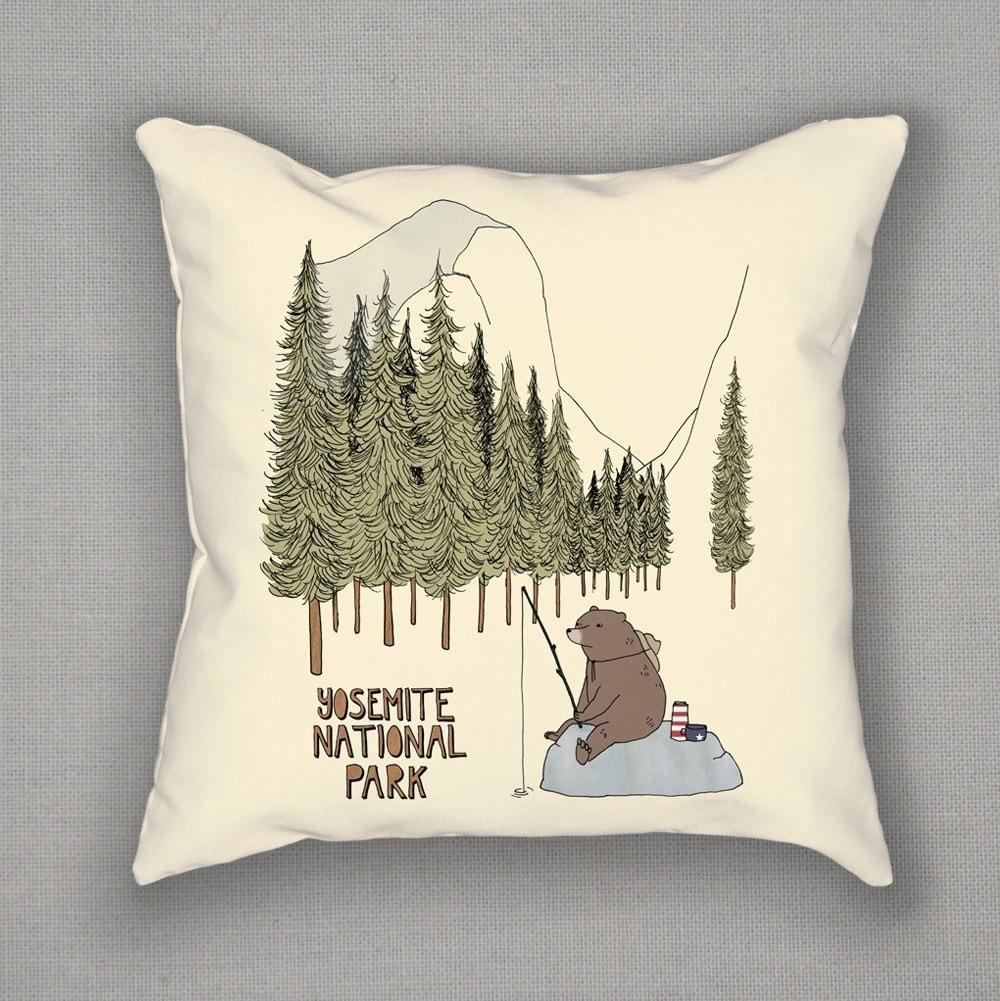 Yosemite National Park Pillow by Naomi Sloman