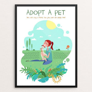"You Can't Buy A Friend. But You Sure Can Adopt One! by Constantine Vasileiadis 12"" by 16"" Print / Framed Print Creative Action Network"