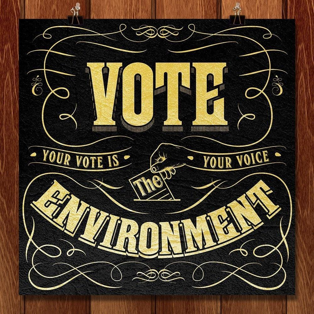 "Your Vote is Your Voice 2 by Roberlan Borges 12"" by 12"" Print / Unframed Print Vote the Environment"
