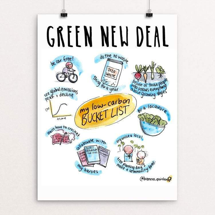 "Zero Carbon Bucket List by Brenna Quinlan 18"" by 24"" Print / Unframed Print Green New Deal"