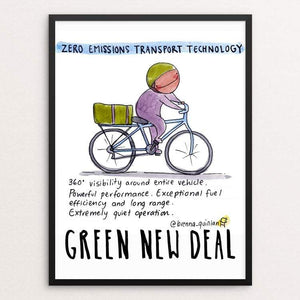 "Zero Emissions Technology by Brenna Quinlan 18"" by 24"" Print / Framed Print Green New Deal"