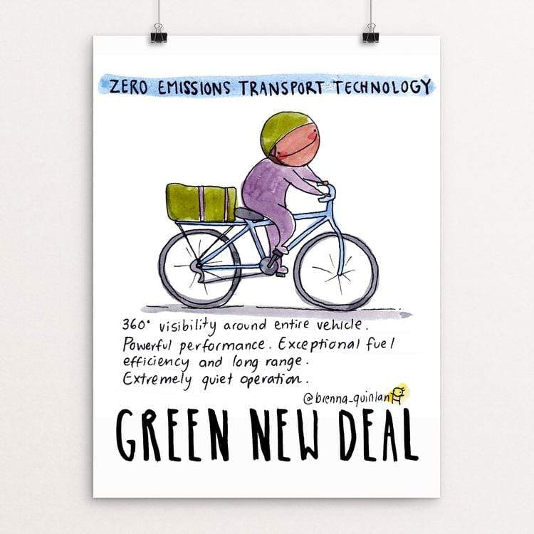 "Zero Emissions Technology by Brenna Quinlan 18"" by 24"" Print / Unframed Print Green New Deal"
