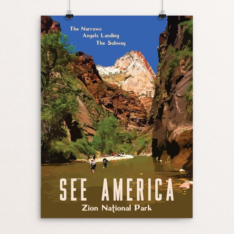"Zion National Park by Isaac Loveland 12"" by 16"" Print / Unframed Print See America"