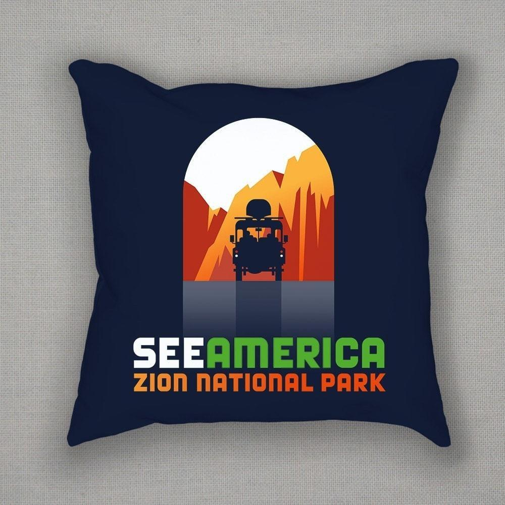 Zion National Park Pillow by Luis Prado