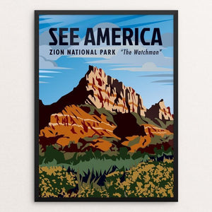 "Zion National Park, the Watchman by Phil Ah You 12"" by 16"" Print / Framed Print See America"